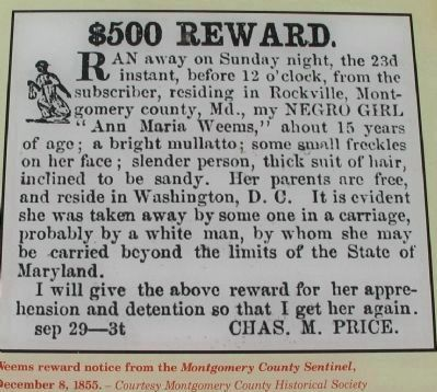 Weems Reward Notice image. Click for full size.
