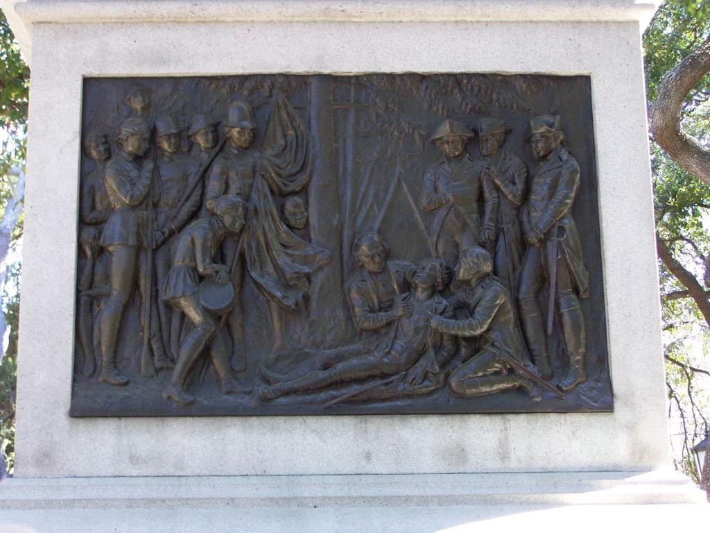 bas relief - the dying hero's last moments after the attack of October 9, 1779.