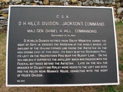 D.H. Hill's Division, Jackson's Command Marker image. Click for full size.