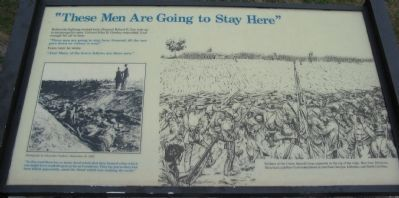 """These Men Are Going to Stay Here"" Marker image. Click for full size."