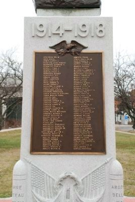 Rear of Monument and List of 101 Belmar Servicemen, and one servicewoman, who served image. Click for full size.