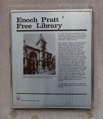 Old Enoch Pratt Free Library Marker image. Click for full size.