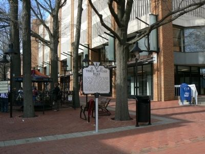 The marker on the pedestrian mall in the historic district of Charlottesville. image. Click for full size.