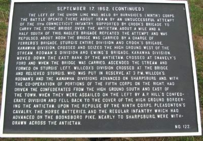 September 17, 1862 (Continued) Marker image. Click for full size.