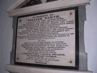 William North Plaque image. Click for full size.