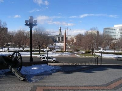 View from Civil War Memorial towards the newer Veterans memorial image. Click for full size.