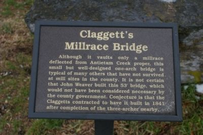 Claggett's Millrace Bridge Marker image. Click for full size.