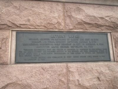 Anthony Wayne Monument plaque image. Click for full size.
