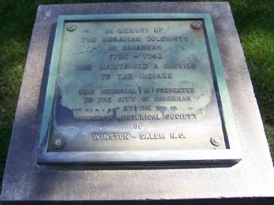 In Memory of <b>The Moravian Colonists In Savannah</b> Marker image. Click for full size.