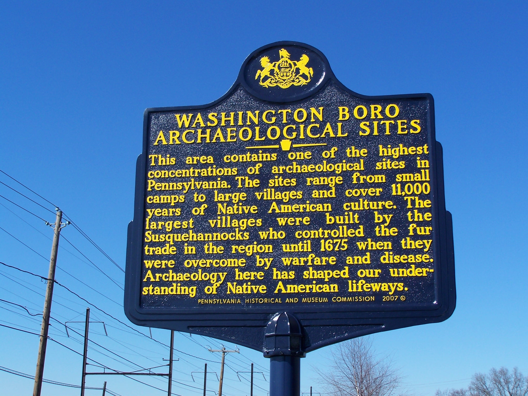 Washington Boro Archaeological Sites Marker