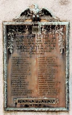 World War II Roll of Honor - Added to right side of Monument in 1947 image. Click for full size.