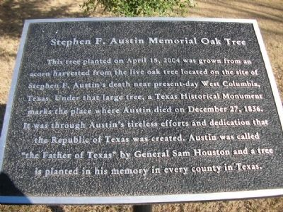 Stephen F. Austin Memorial Oak Tree Marker image. Click for full size.