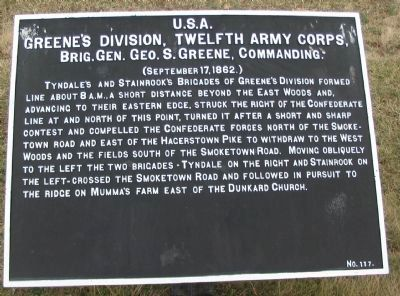 Greene's Division, Twelfth Army Corps Marker image. Click for full size.