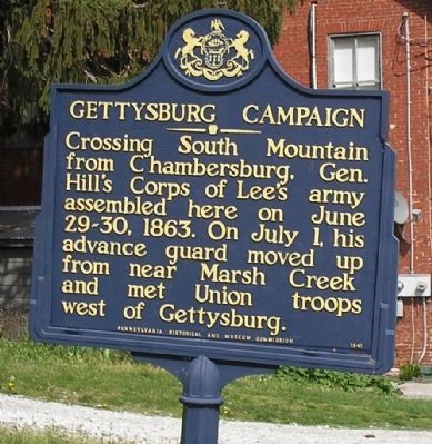 Gettysburg Campaign Marker in Cashtown image. Click for full size.