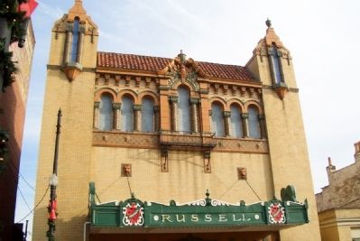 Spanish-style architecture of Russell Theater image. Click for full size.