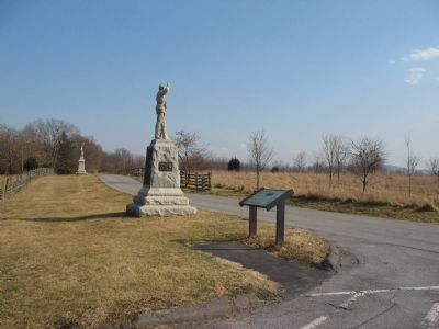 4th Pennsylvania Reserves Monument and an Interpretive Marker at Stop Two image. Click for full size.