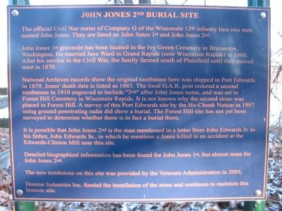 John Jones 2nd Burial Site Marker image. Click for full size.