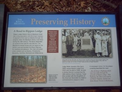 The King's Highway ~ Preserving History Marker image. Click for full size.
