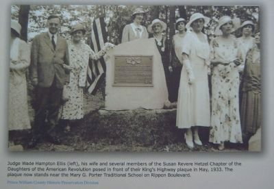Closeup of upper right picture, showing dedication of the nearby DAR commemorative plaque. image. Click for full size.