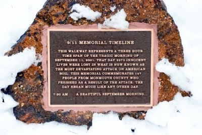 9/11 Memorial Timeline (first of four sister markers on the site) image. Click for full size.