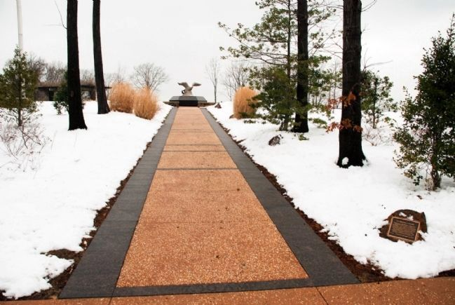 Sidewalk to American Eagle Statue (Memorial Timeline Plaques on Right) image. Click for full size.