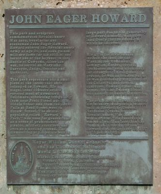 John Eager Howard Marker image. Click for full size.