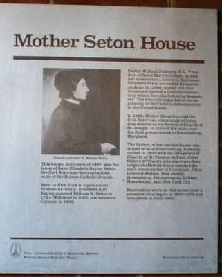 Mother Seton House Marker image. Click for full size.