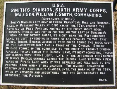 Smith's Division, Sixth Army Corps Marker image. Click for full size.