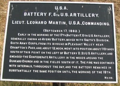 Battery F, 5th U.S. Artilllery Marker image. Click for full size.