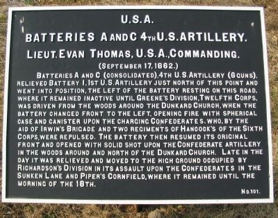 Batteries A and C 4th U.S. Artillery Marker image. Click for full size.