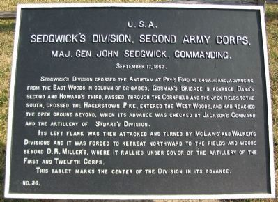 Sedgwick's Division, Second Army Corps Marker image. Click for full size.