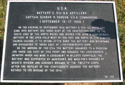 Battery C, 5th U.S. Artillery Marker image. Click for full size.