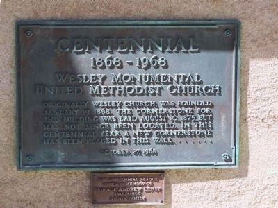 Wesley Monumental United Methodist Church Centennial Marker image. Click for full size.