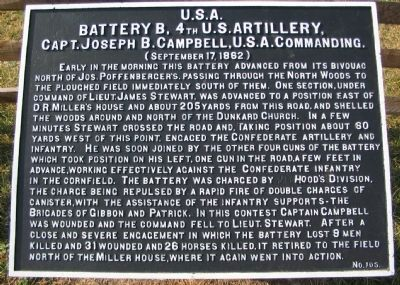 Battery B, 4th U.S. Artillery Marker image. Click for full size.