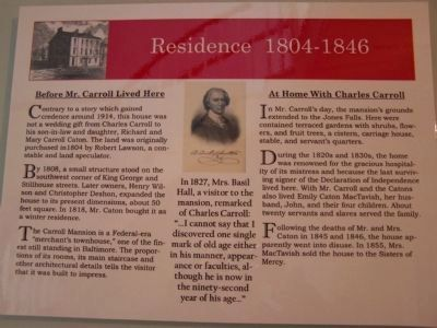 Residence 1804 - 1846 Interior marker in Carroll Mansion image. Click for full size.
