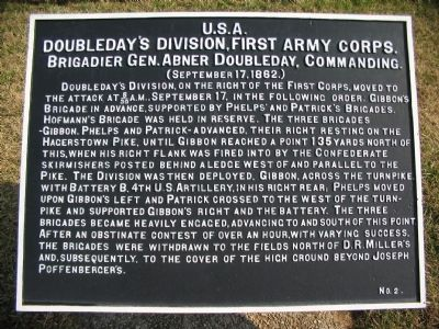 Doubleday's Division, First Army Corps Marker image. Click for full size.