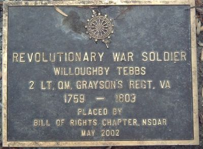 Willoughby Tebbs Marker image. Click for full size.