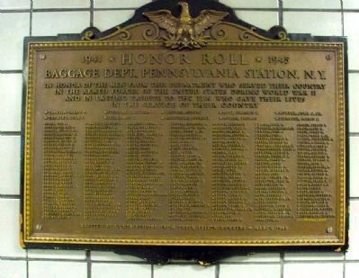 1941 · Honor Roll · 1945<br>Baggage Dept., Pennsylvania Station, N.Y. Marker image. Click for full size.