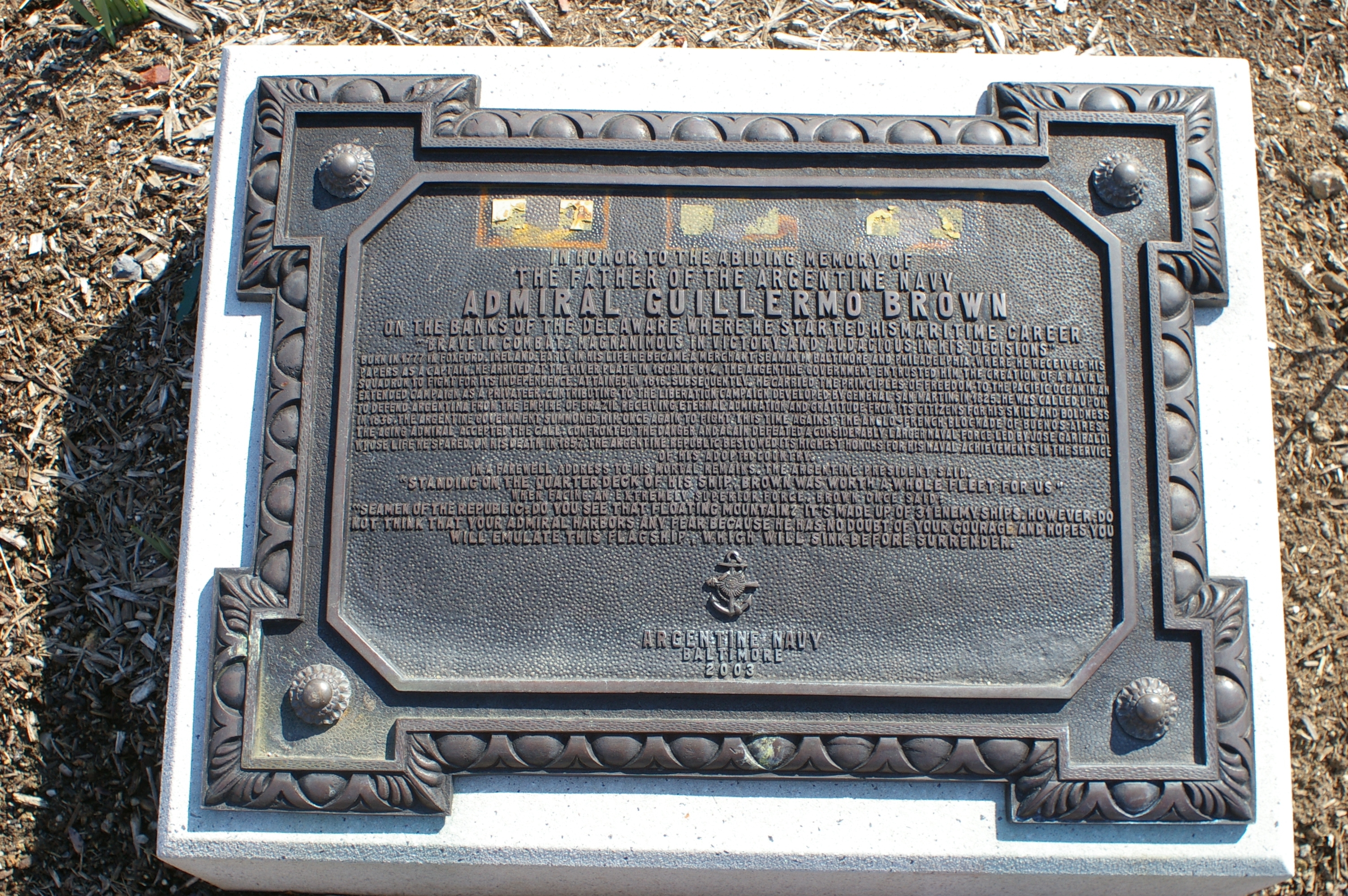 Admiral Guillermo Brown Marker