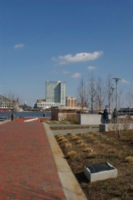 Marker with the Baltimore harbor in the background image. Click for full size.