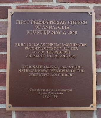 First Presbyterian Church of Annapolis Marker image. Click for full size.