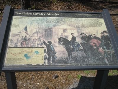 The Union Cavalry Attacks Marker at Five Forks image. Click for full size.
