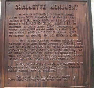Chalmette Monument Marker </b>(Main Marker) image. Click for full size.