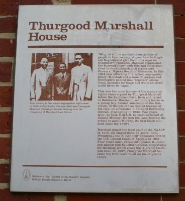 Thurgood Marshall House Marker image. Click for full size.