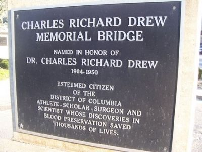 Charles Richard Drew Memorial Bridge Marker image. Click for full size.