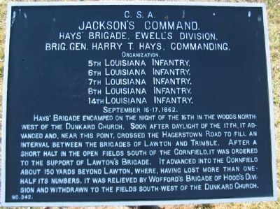 Hays' Brigade Tablet image. Click for full size.