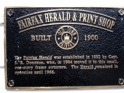 Fairfax Herald & Print Shop Marker image. Click for full size.