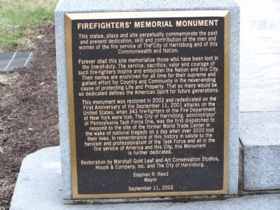 Firefighters' Memorial Monument Marker image. Click for full size.