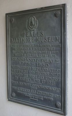 Peale's Baltimore Museum Marker image. Click for full size.