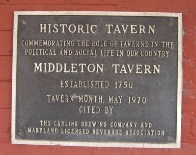 Middleton Tavern Marker image. Click for full size.